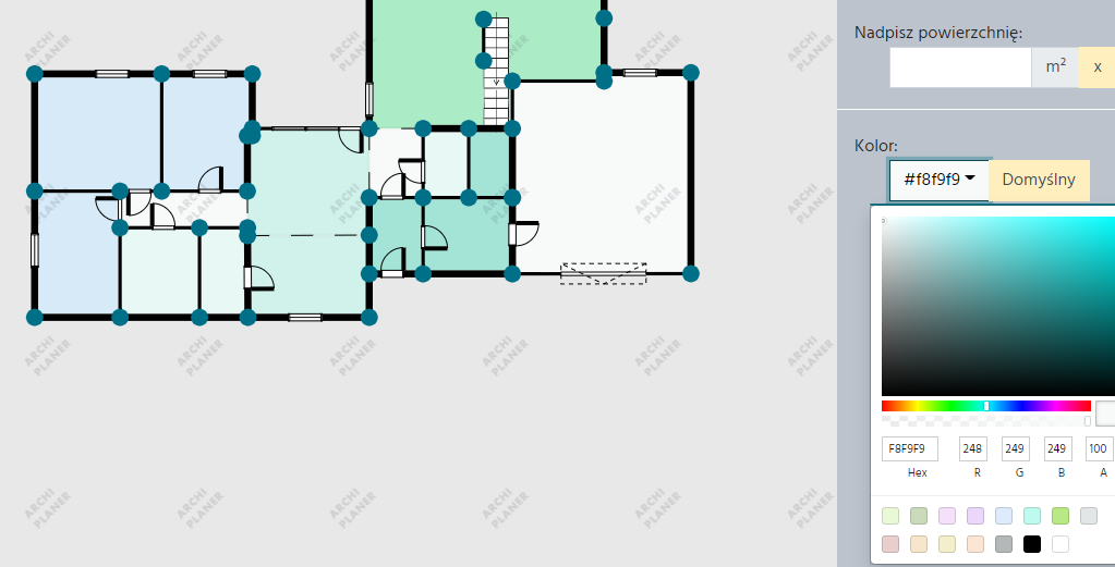zmieniamy kolor pomieszczenia w programie do rzutów