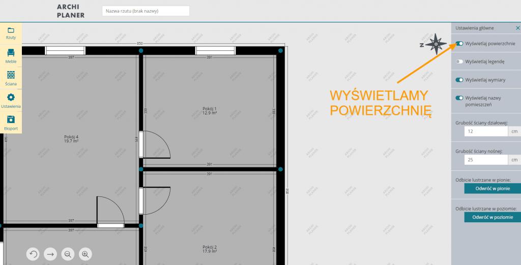 wyświetlamy powierzchnię pomieszczeń na rzucie mieszkania w programie do rzutów