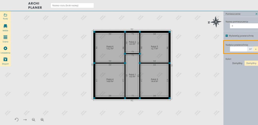 nadpisujemy powierzchnię pomieszczenia na planie mieszkania