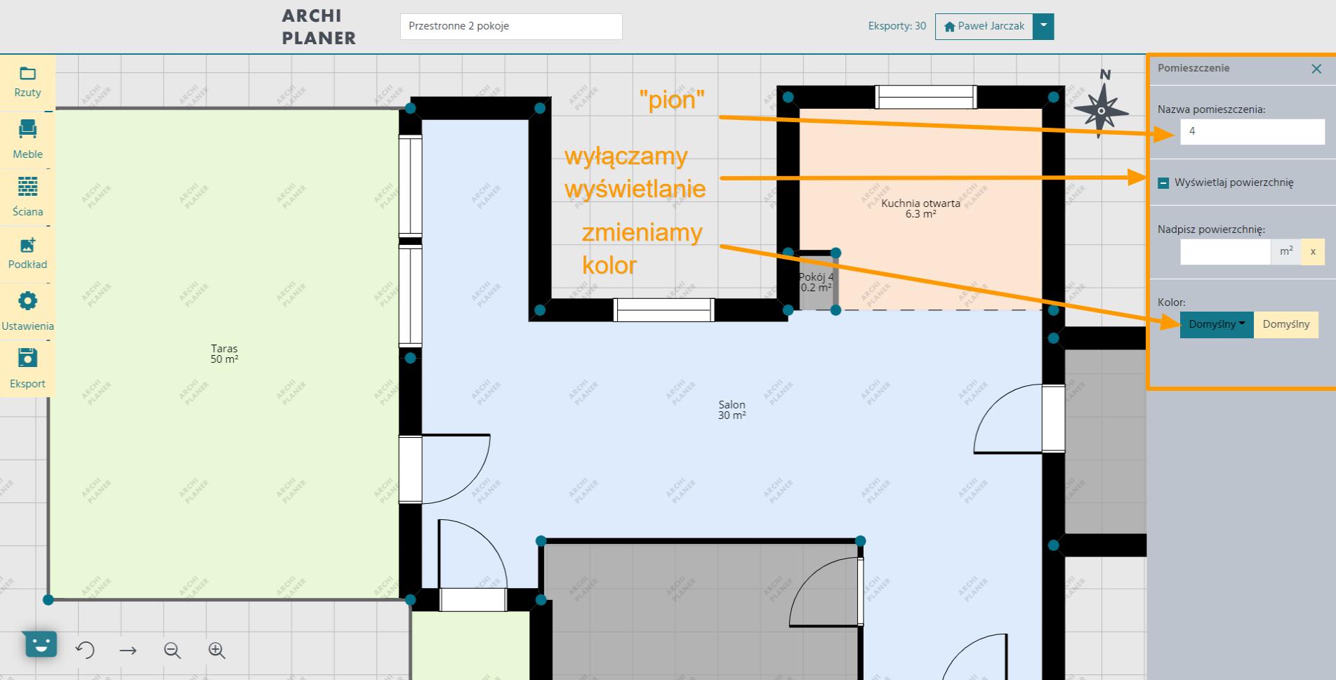 edycja ustawień pionu wentylacyjnego w programie do rzutów mieszkań