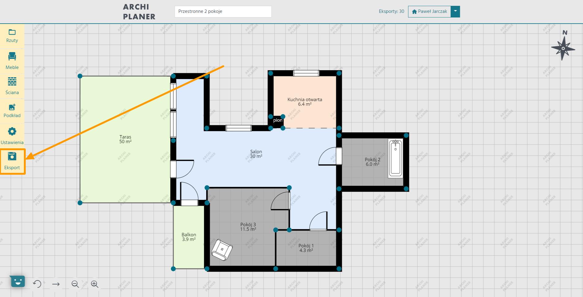 generujemy eksport planu mieszkania w programie do rzutów