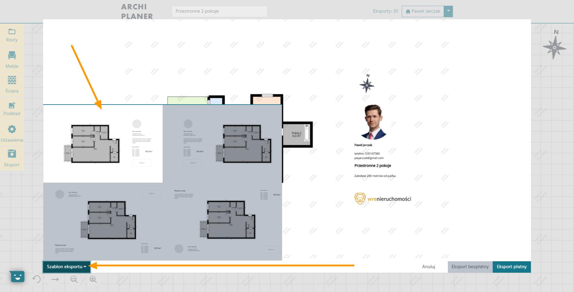 wybór dostępnego szablonu rzutu mieszkania w programie do rzutów