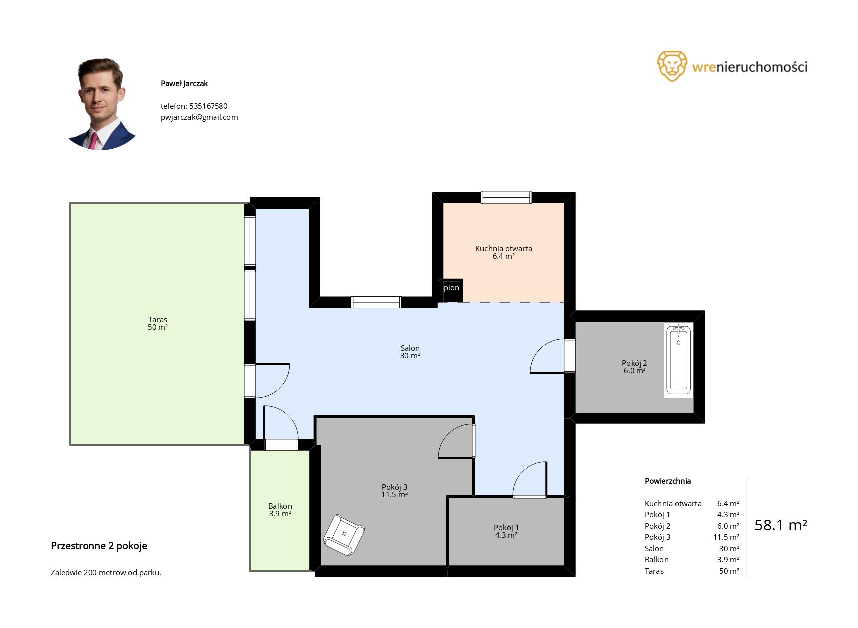 szablon planu mieszkania z opisem w programie do rzutów