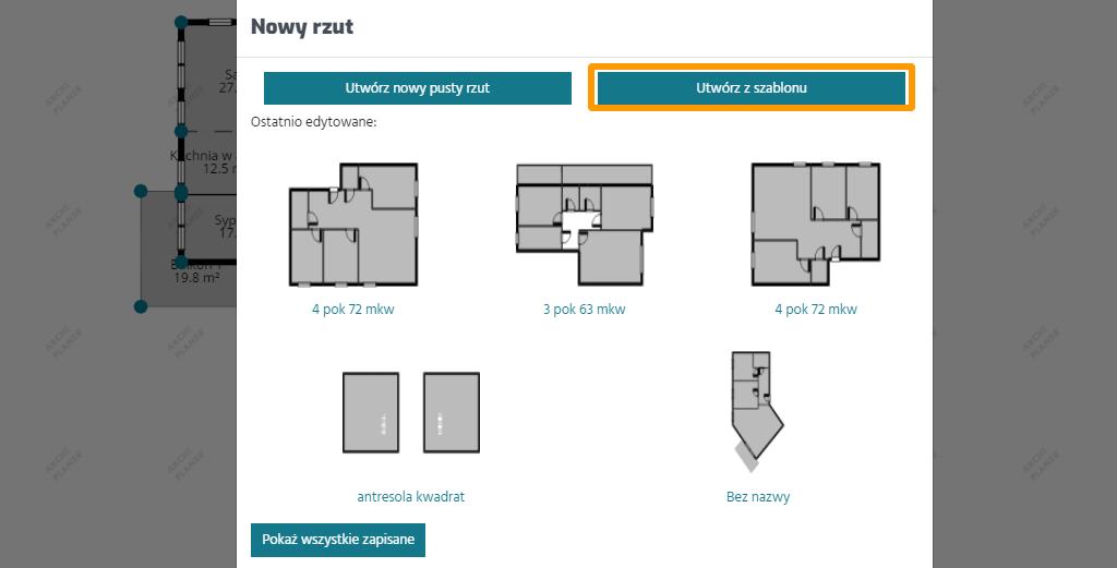 nowy plan mieszkania z wykorzystaniem szablonów rzutów
