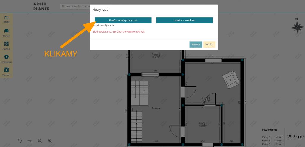 nowy pusty rzut mieszkania online