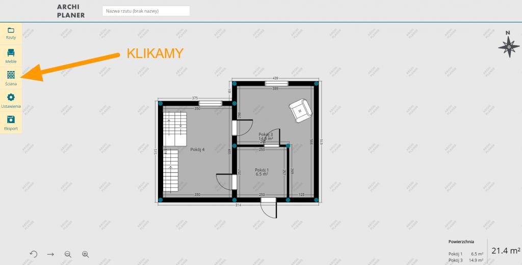 dodajemy ścianę klikając w ikonę na rzucie mieszkania