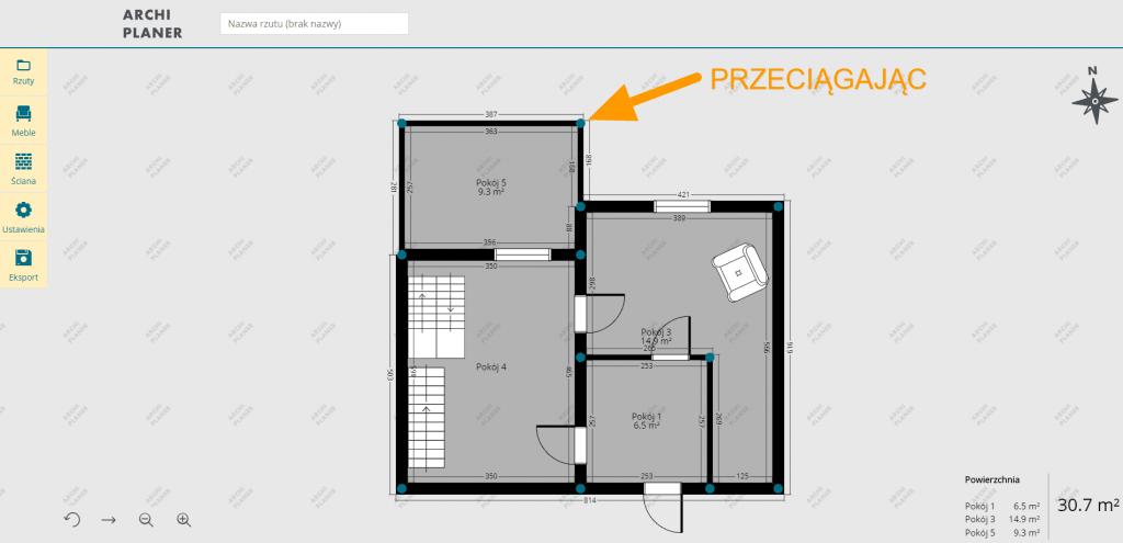 przeciągamy kąty sąsiadujących ścian w programie do rzutów mieszkań