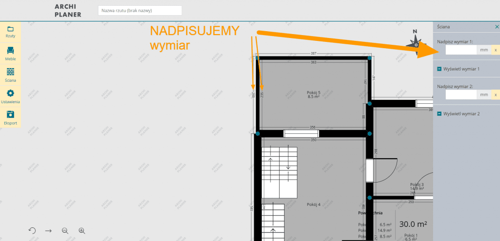 nadpisanie wymiarów ścian na rzucie mieszkania