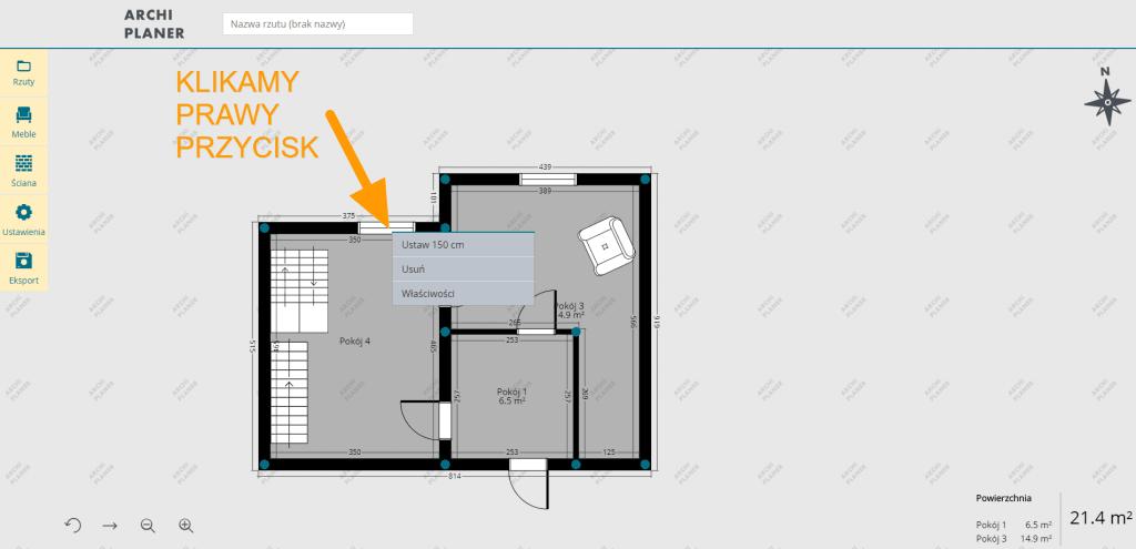 zmiana rozmiarów okna na planie mieszkania