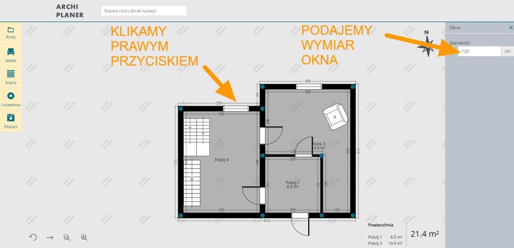 wpisanie własnych wymiarów okna na rzut mieszkania online