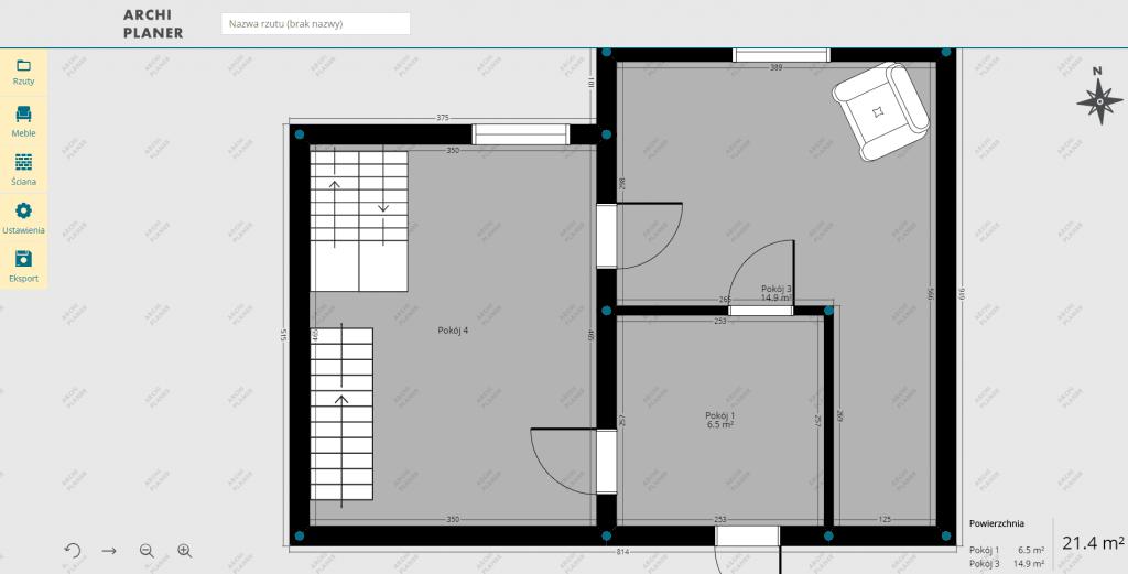 dodanie schodów na plan mieszkania online