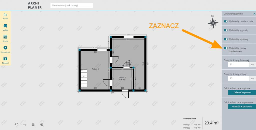 wyświetlanie nazwy pomieszczeń na planie mieszkania