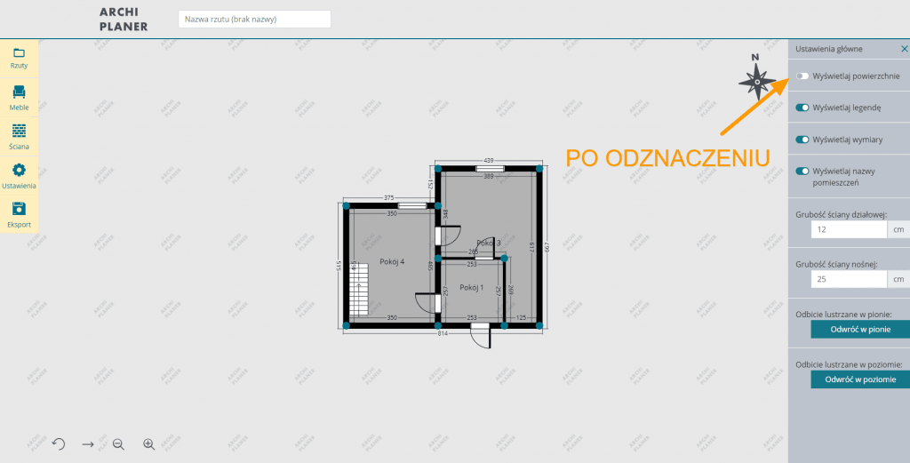 wyłączamy wyświetlanie powierzchni na planie mieszkania