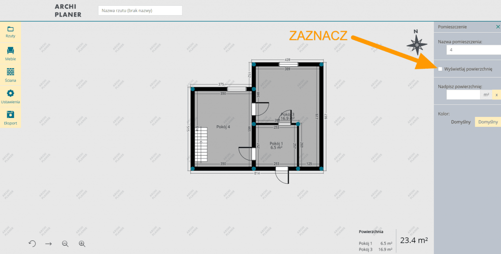 edycja wyświetlania metrażu poszczególnego pomieszczenia na rzucie