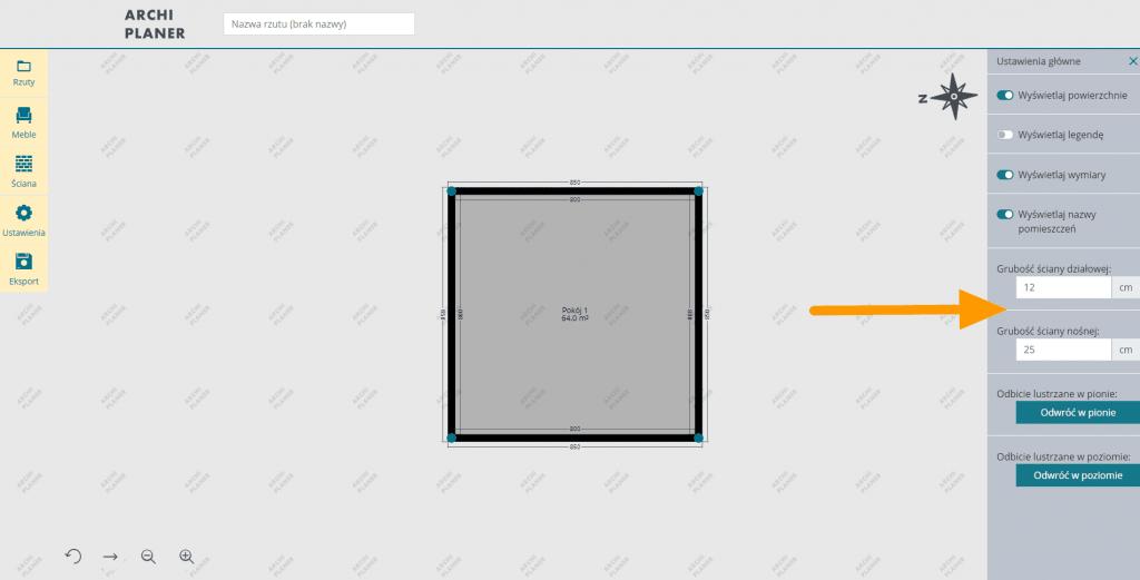 ustawianie rozmiarów ściany w programie do rzutów mieszkań