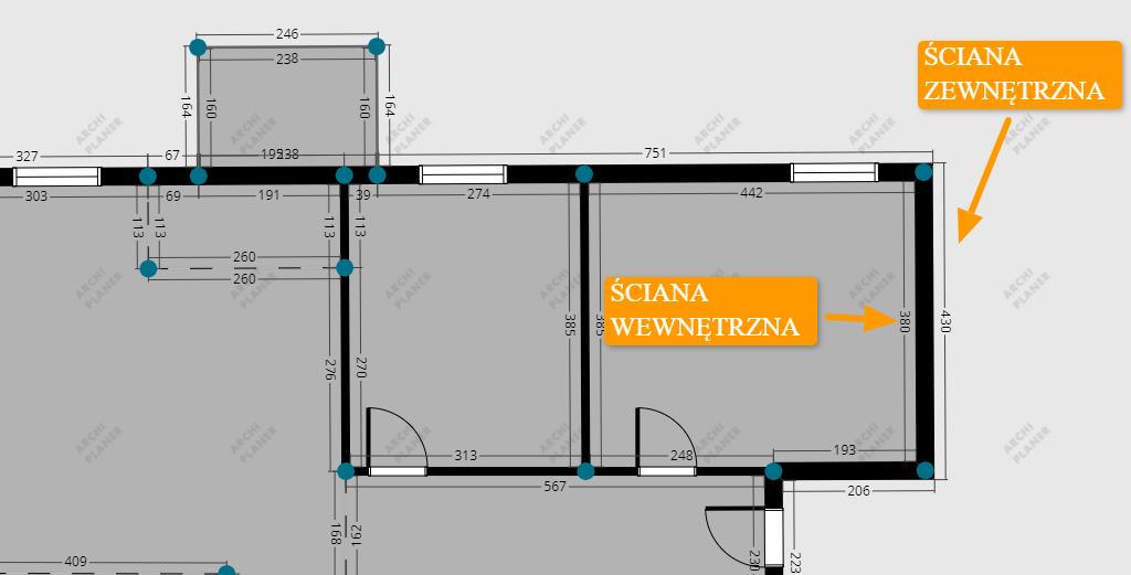 długość ściany na technicznym rzucie mieszkania