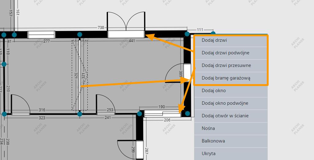 drzwi pojedyncze, podwójne, przesuwne oraz brama garażowa na technicznym rzucie mieszkania