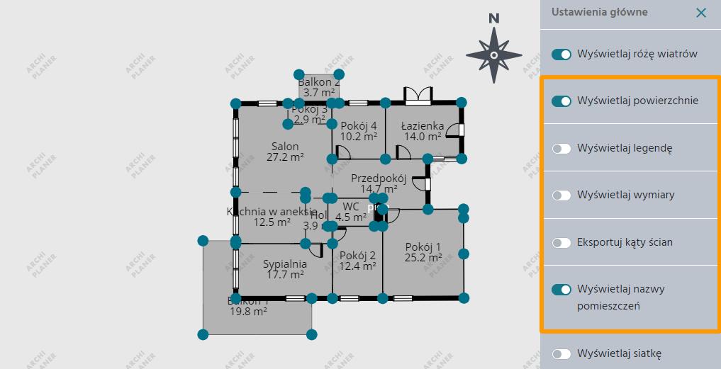 edycja wszystkich ustawień technicznego rzutu mieszkania