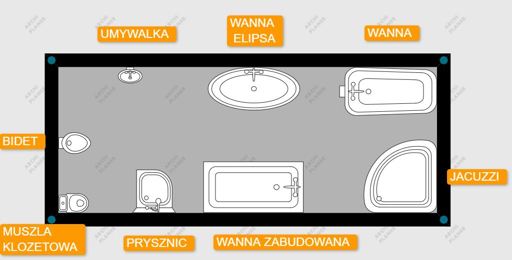 lista dostępnych obiektów na rzucie w łazience