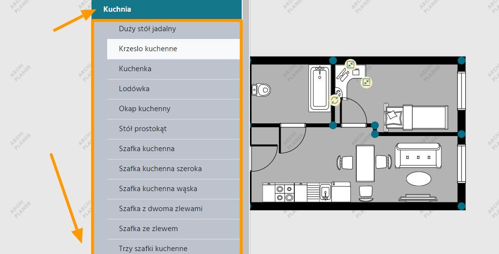 wyposażenie kuchni na planie mieszkania