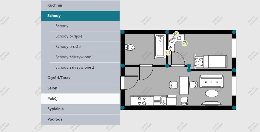 lista schodów do wyboru w programie do rzutów mieszkań