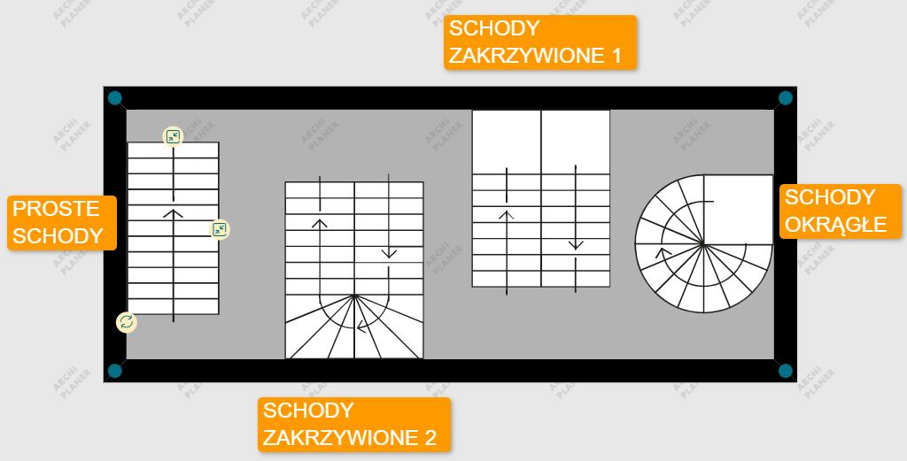 dostępne symbole schodów na planie mieszkania