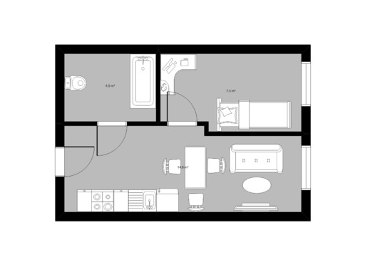 1 pokojowy rzut mieszkania 26 metrów