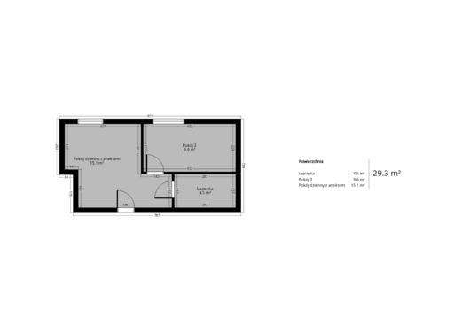2 pokojowy rzut mieszkania 29 metry