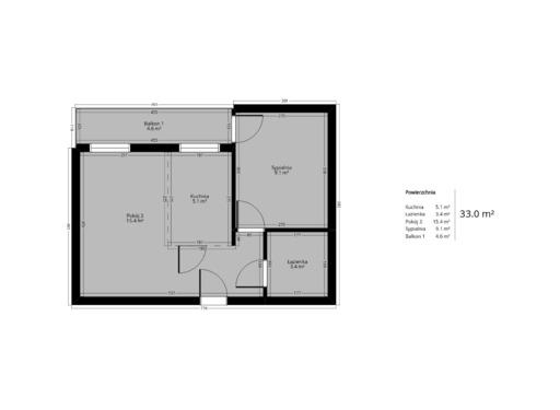 2 pokojowy rzut mieszkania 33 metry
