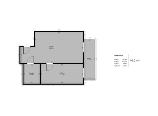 2 pokojowy rzut mieszkania 40 metrów