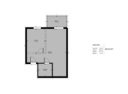 1 pokojowy rzut mieszkania 42 metry