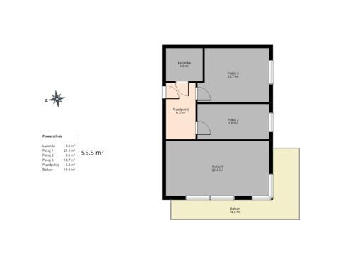 3 pokojowy rzut mieszkania 55 metrów