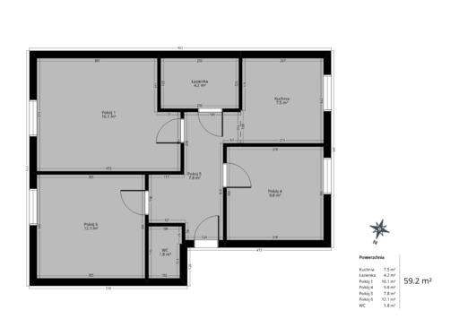 3 pokojowy rzut mieszkania 59 metrów