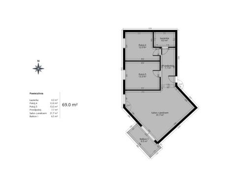 3 pokojowy rzut mieszkania 69 metrów
