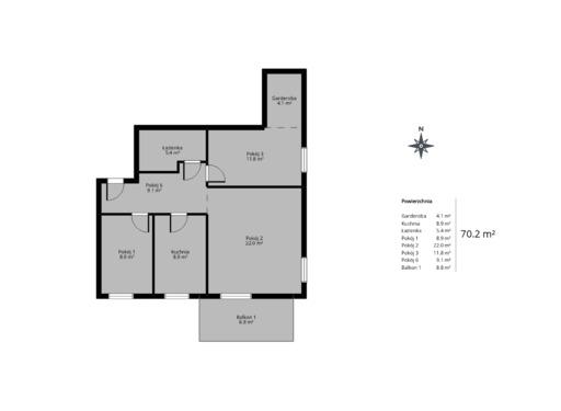 3 pokojowy rzut mieszkania 70 metrów