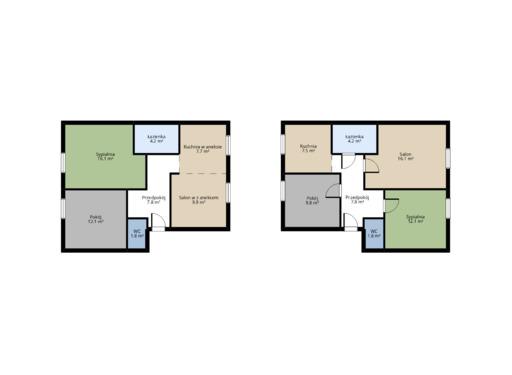 dwa podziały planu mieszkania