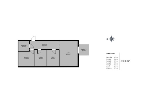 4 pokojowy rzut mieszkania 63 metry