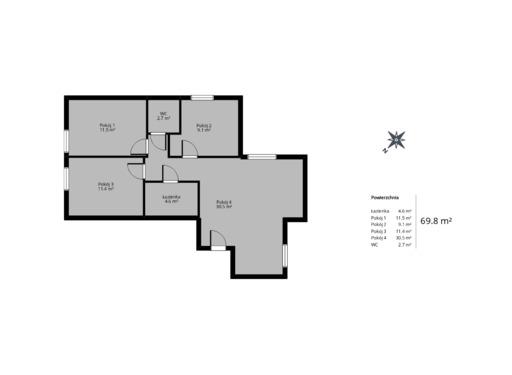 4 pokojowy rzut mieszkania 69 metrów