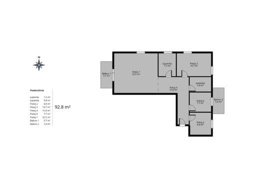 4 pokojowy rzut mieszkania 93 metry
