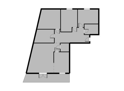 5 pokojowy rzut mieszkania 34 metry